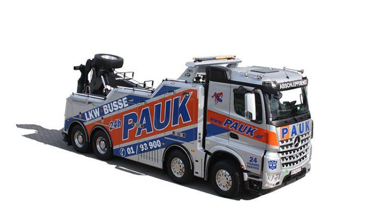 Abschleppdienst Wien PAUK – LKW Bus – Mercedes 4achser Bergungen