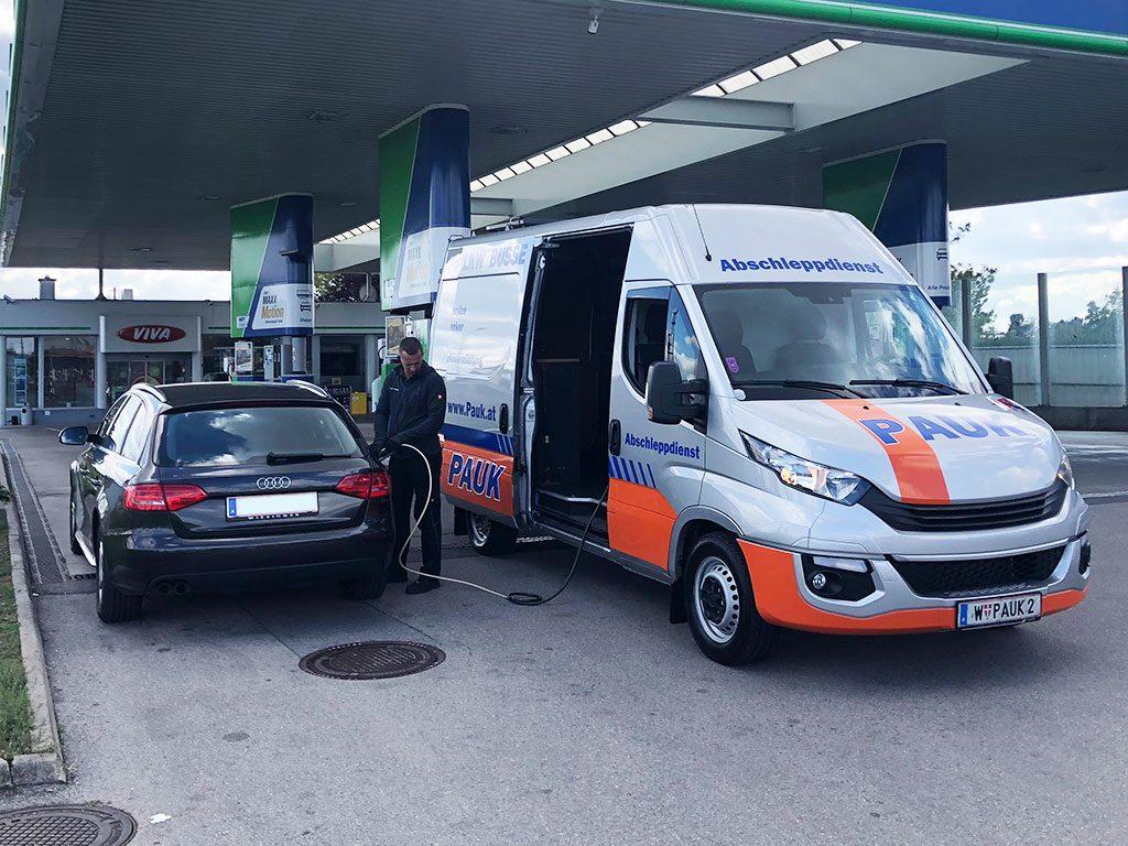 PAUK Pannenhilfe Fahrzeug Falschtanker Hilfe in Wien
