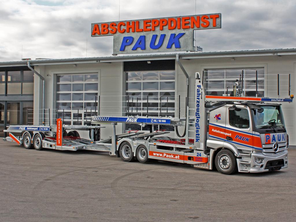 Abschleppdienst Wien PAUK Mercedes Actros Autotransporter City Liner